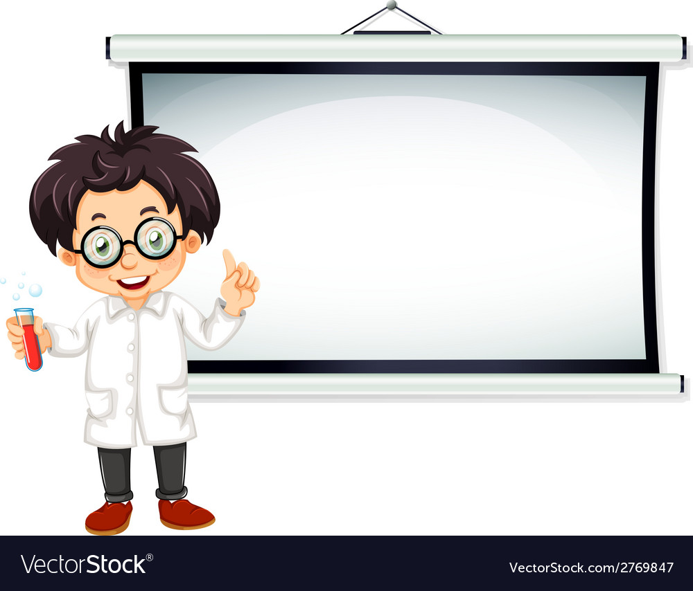 Scientist and screen vector | Price: 1 Credit (USD $1)