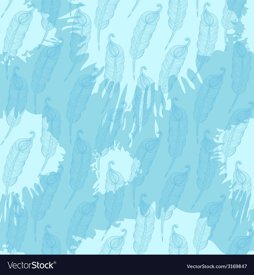 Seamless pattern with abstract blue feathers on vector   Price: 1 Credit (USD $1)