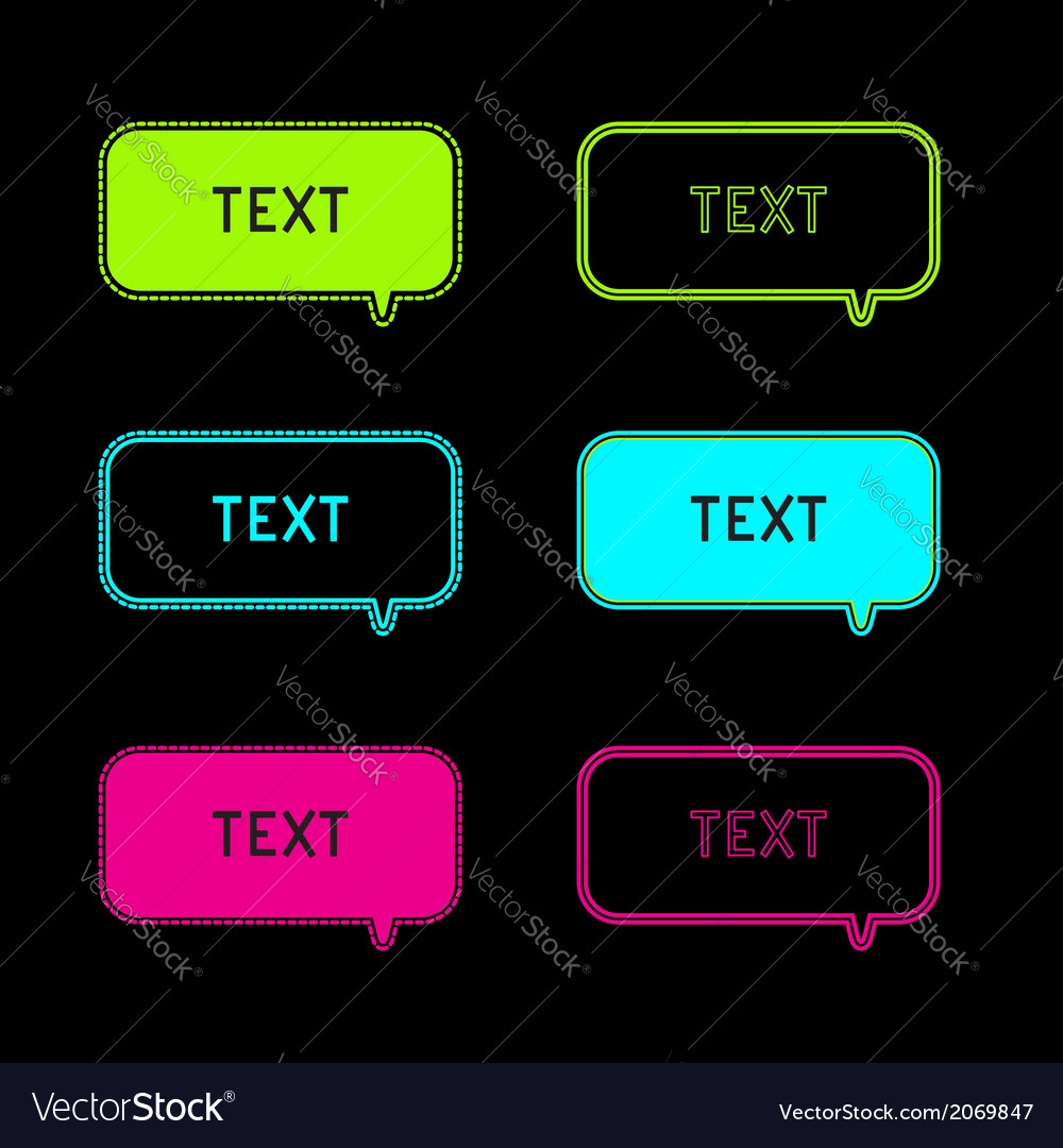 Set of six neon speech bubbles black background vector | Price: 1 Credit (USD $1)