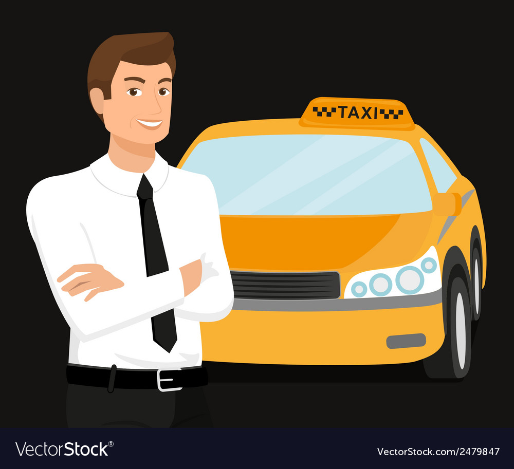 Taxi driver and yellow car behind him vector | Price: 1 Credit (USD $1)