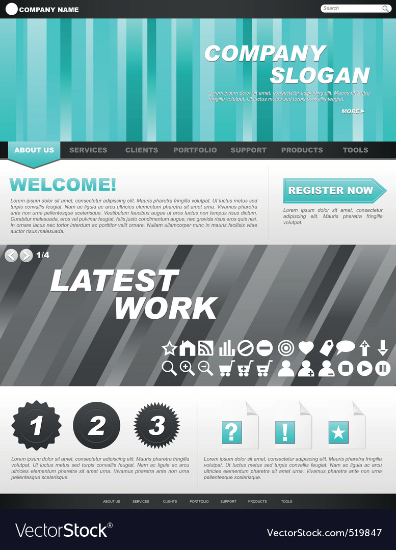 Template for company website vector | Price: 1 Credit (USD $1)
