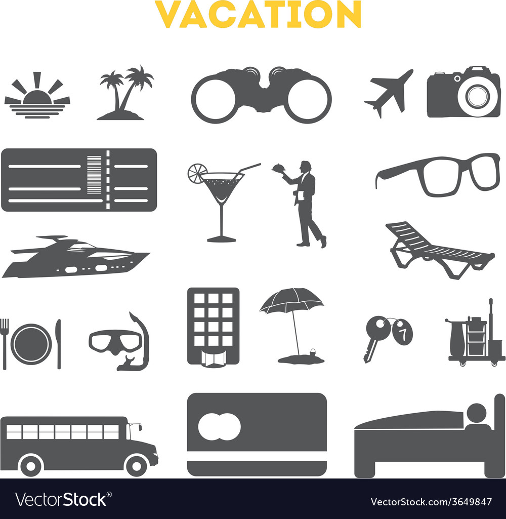 Vacation icons set vector | Price: 1 Credit (USD $1)