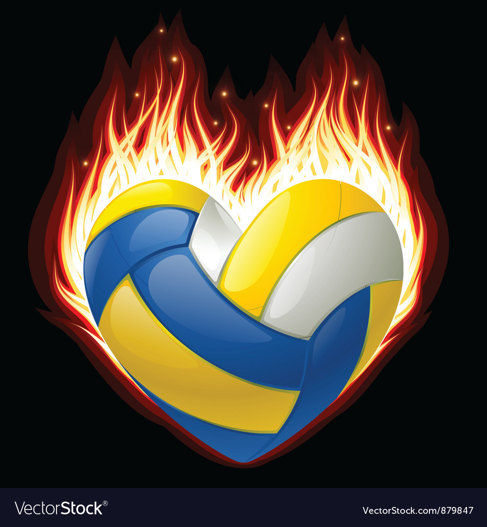 Volleyball on fire in the shape of heart vector | Price: 1 Credit (USD $1)