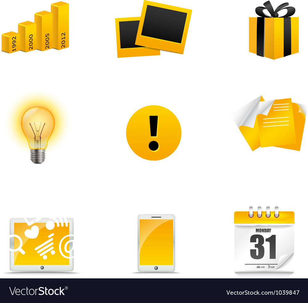 Yellow icons vector | Price: 1 Credit (USD $1)