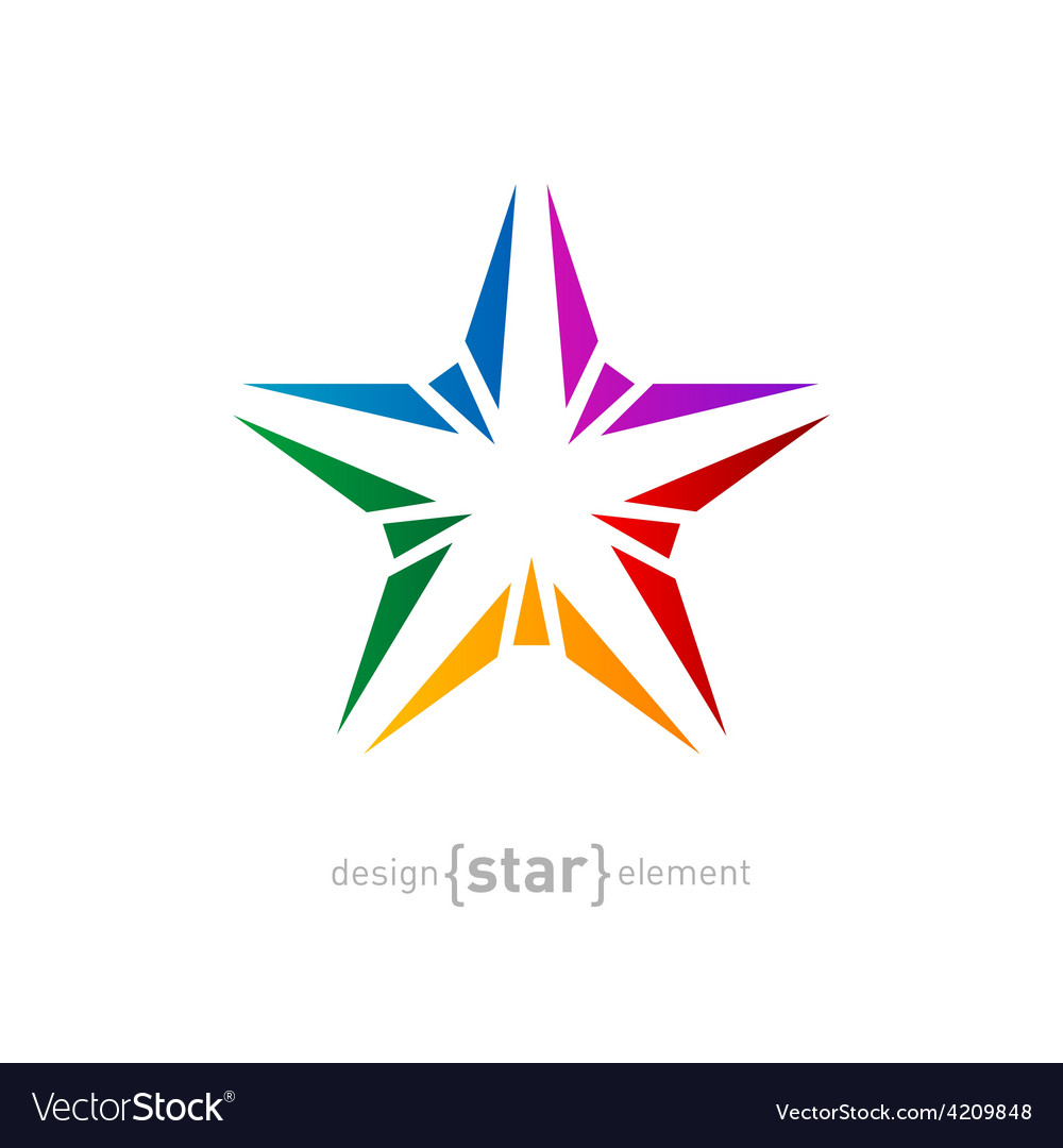 Abstract rainbow star design element on white vector | Price: 1 Credit (USD $1)