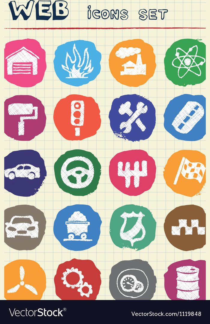 Auto and energy web icons set drawn by chalk vector | Price: 1 Credit (USD $1)