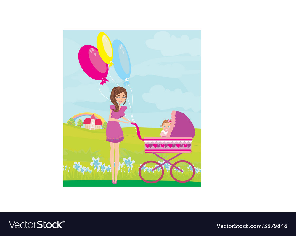 Beautiful girl pushing a stroller with her vector | Price: 1 Credit (USD $1)