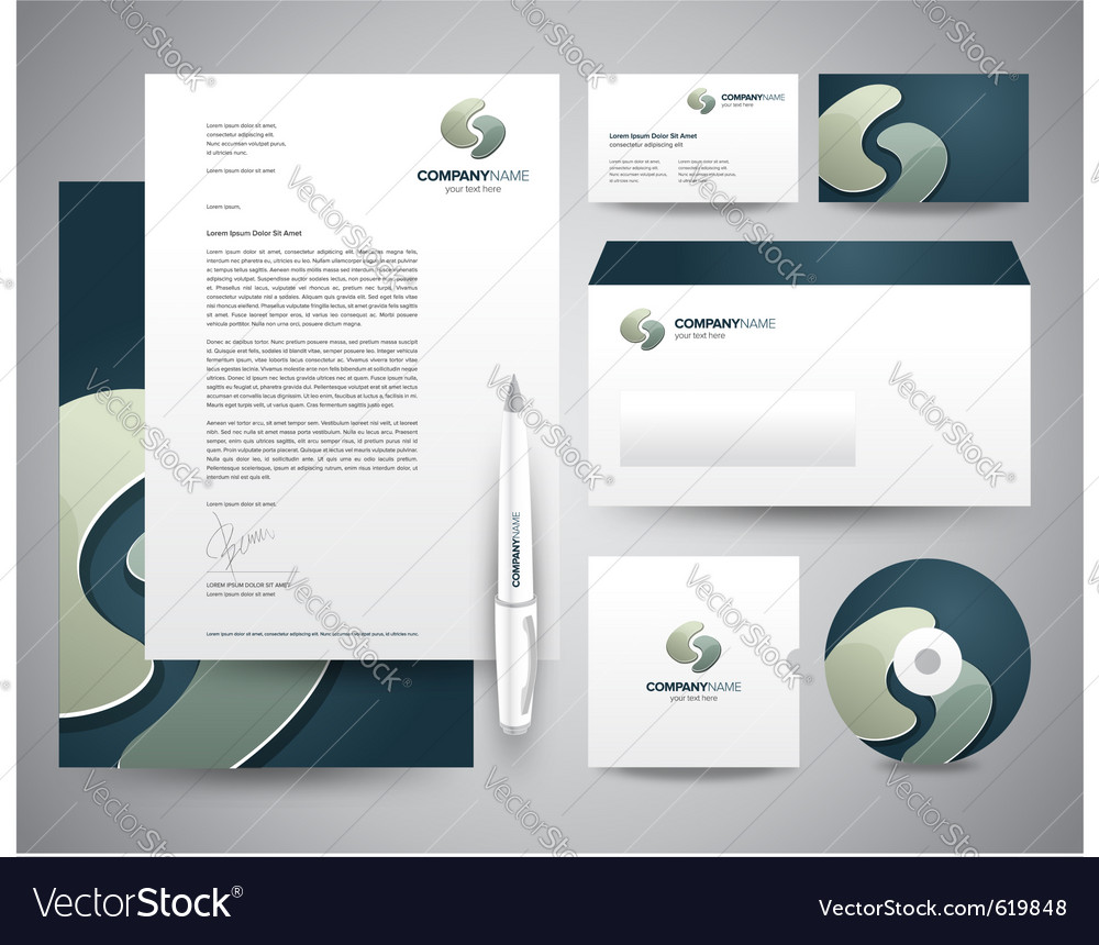 Business stationery template turquoisee vector | Price: 1 Credit (USD $1)