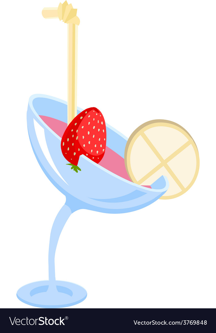 Cocktail in a glass with strawberry vector | Price: 1 Credit (USD $1)