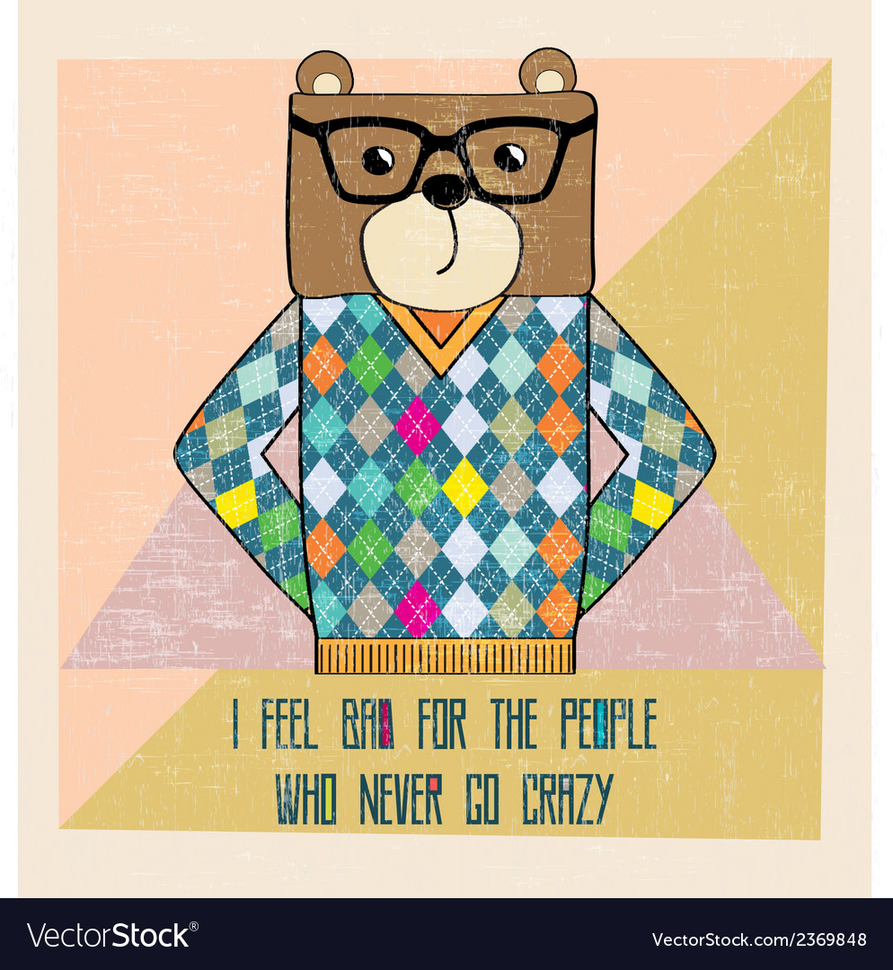 Cool bear hipster hand draw vector | Price: 1 Credit (USD $1)