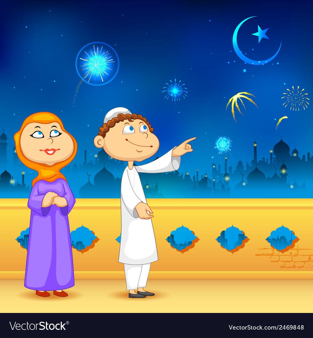 Eid ka chand mubarak vector | Price: 1 Credit (USD $1)