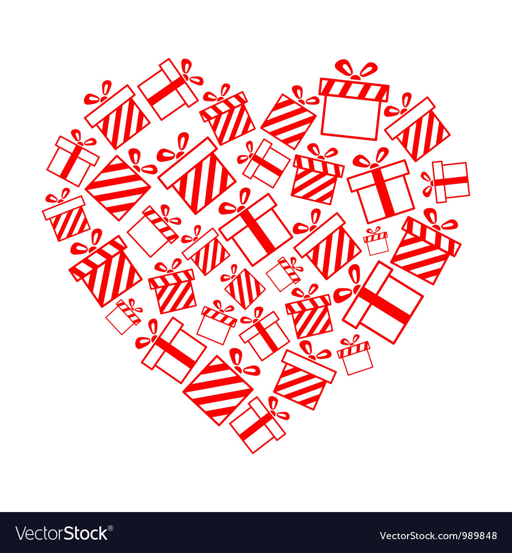 Gift boxes in the heart shape vector | Price: 1 Credit (USD $1)