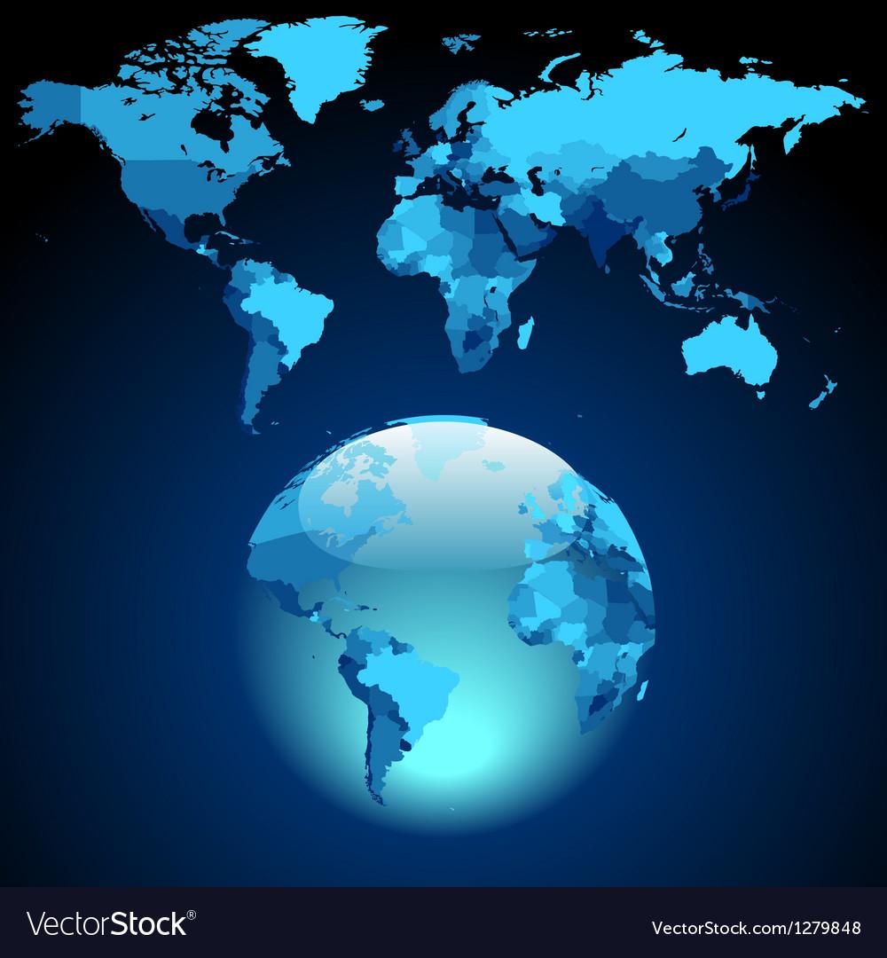 Globe on dark blue world map vector | Price: 1 Credit (USD $1)