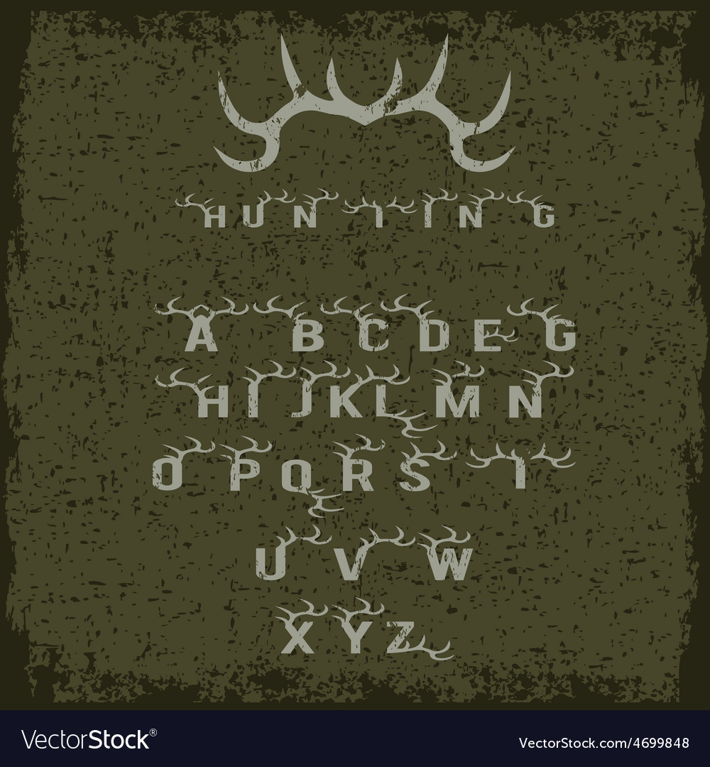 Grunge hunting alphabet with horns vector | Price: 1 Credit (USD $1)