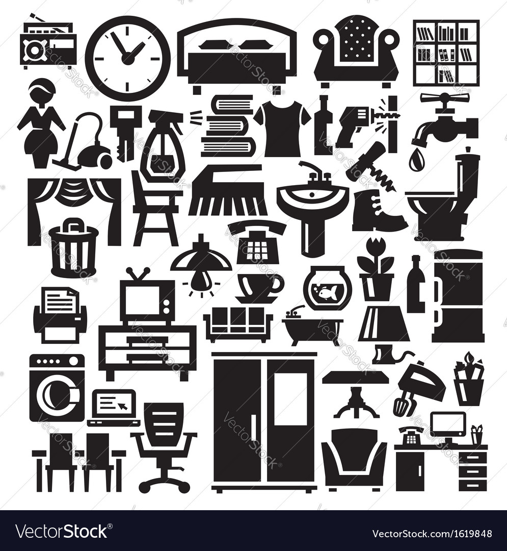 Home furniture and appliances icons vector | Price: 1 Credit (USD $1)
