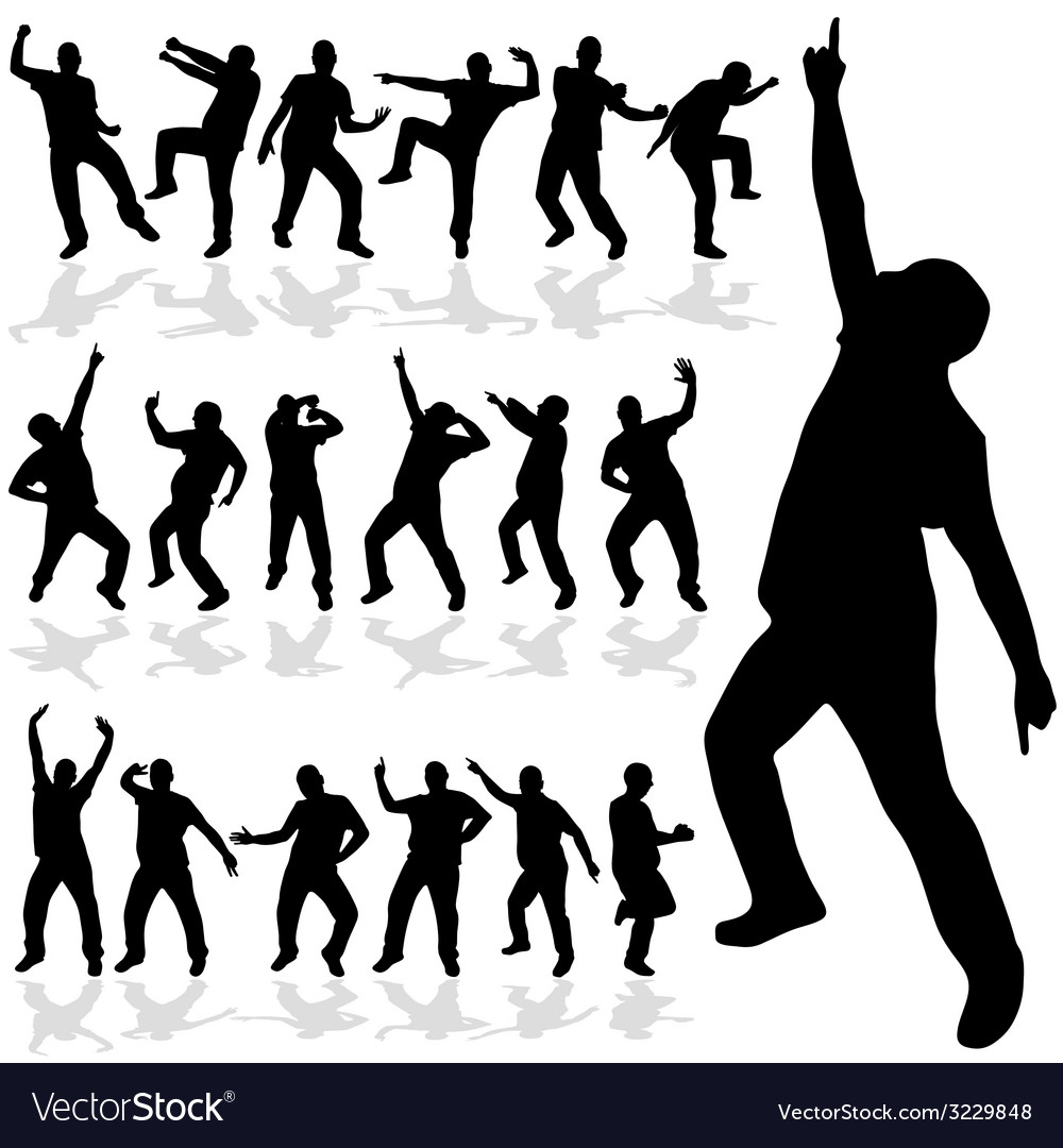 Man dancing silhouette vector | Price: 1 Credit (USD $1)