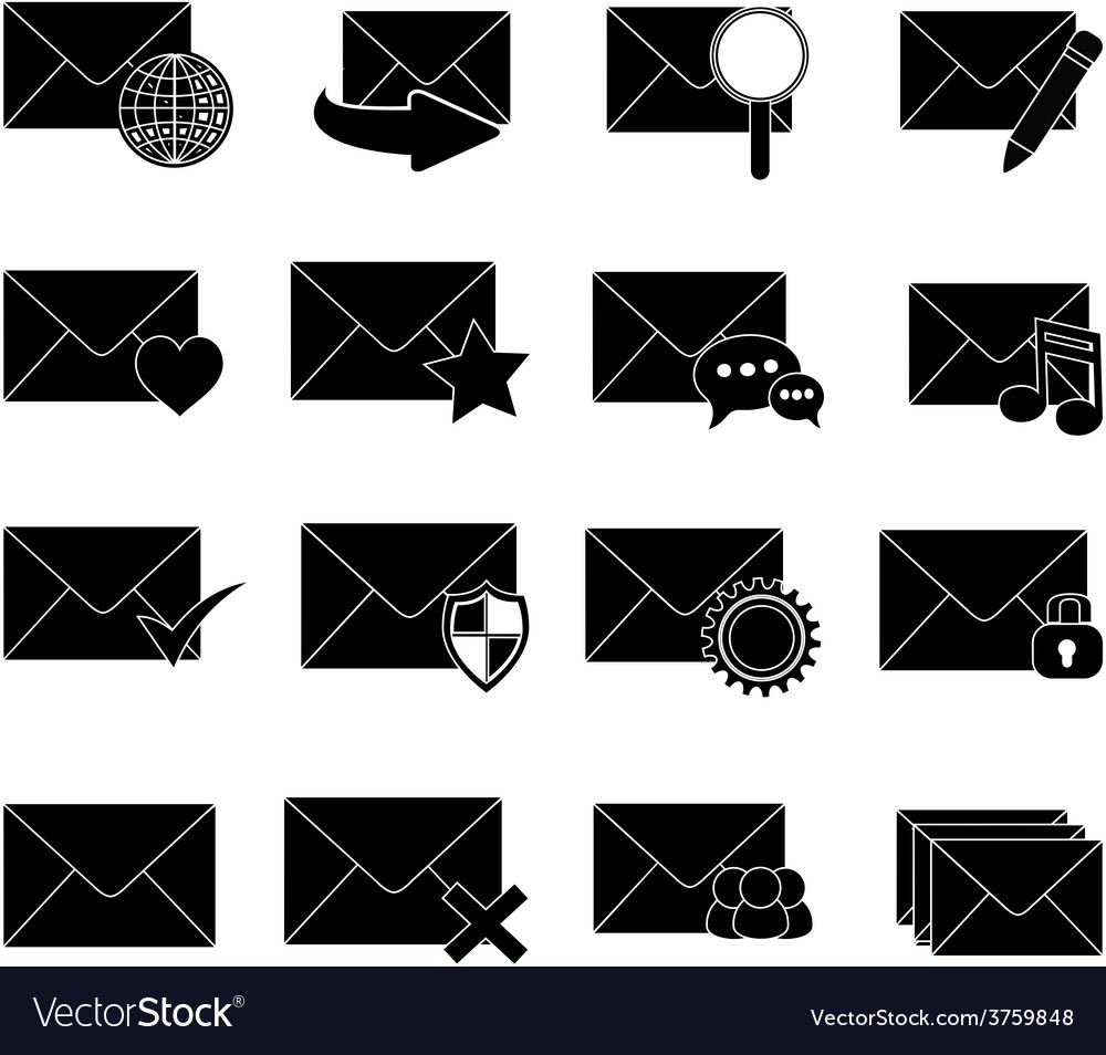 Message email icons set vector | Price: 3 Credit (USD $3)