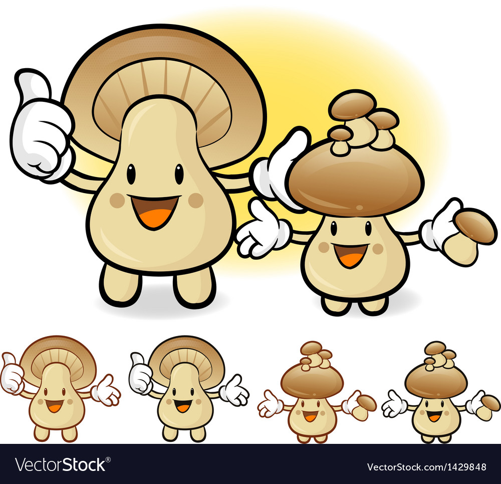 Mushroom couple characters to promote vegetable se vector | Price: 1 Credit (USD $1)