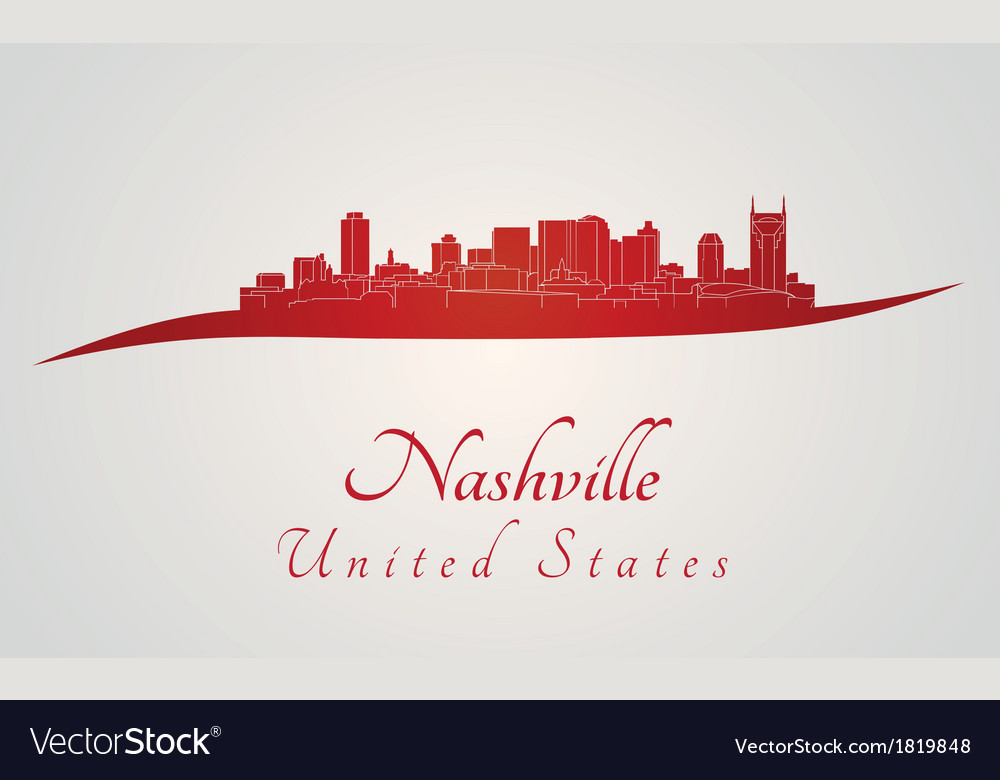Nashville skyline in red vector | Price: 1 Credit (USD $1)