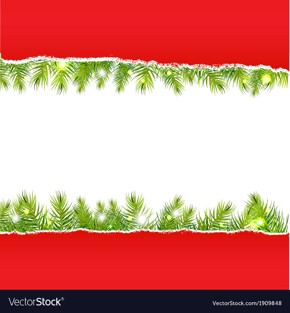 Rip paper with new years fir tree vector | Price: 1 Credit (USD $1)