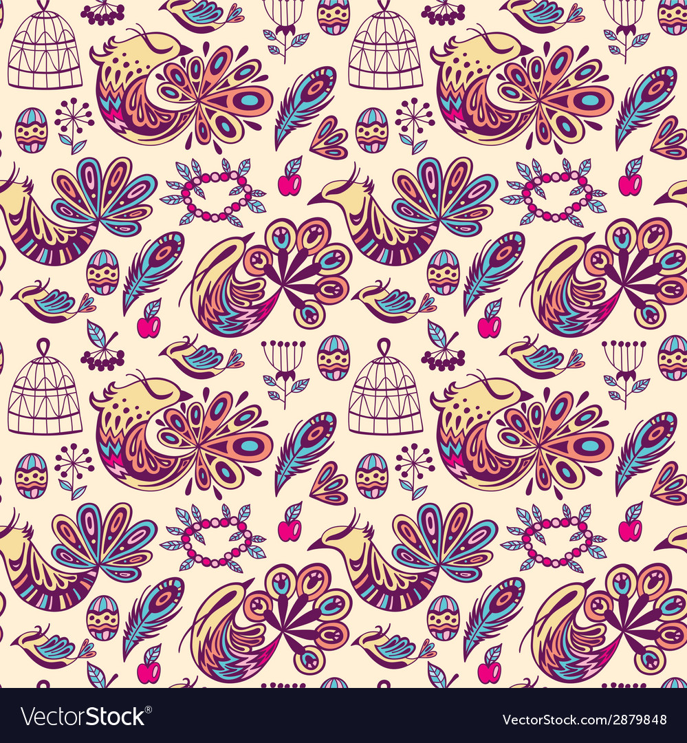 Seamless pattern with birds vector | Price: 1 Credit (USD $1)