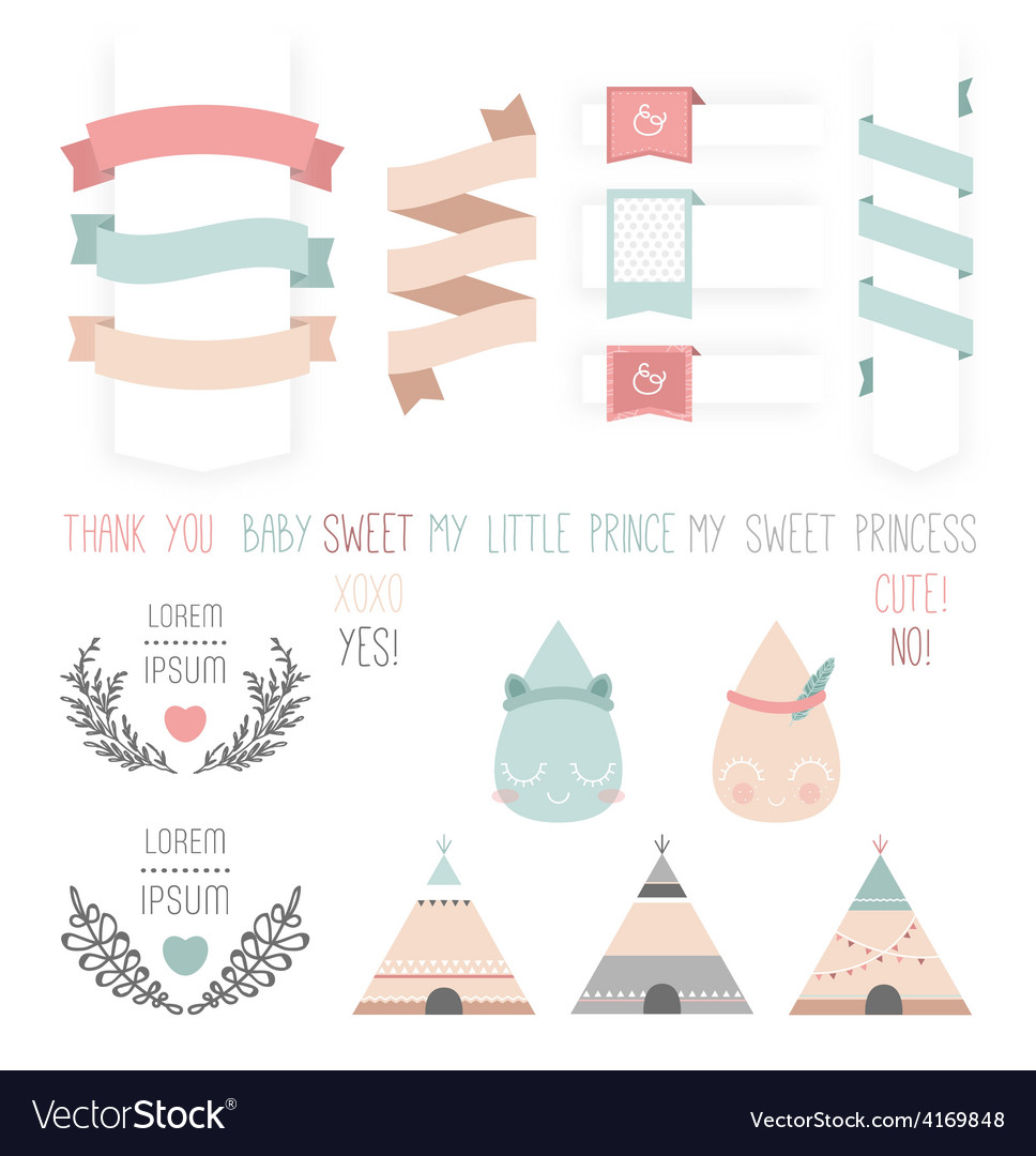 Set of cute ribbons labels droplet vector | Price: 1 Credit (USD $1)