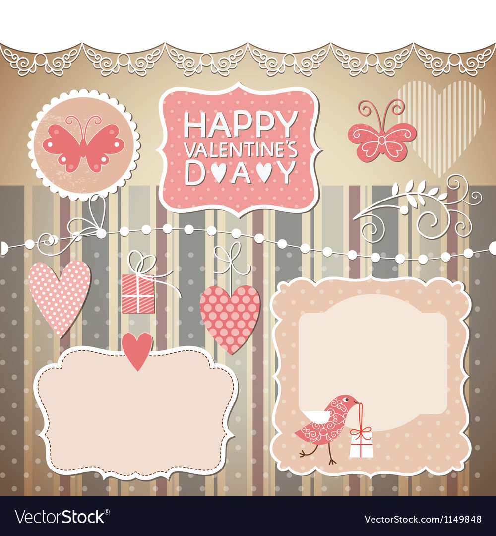 Set of valentines day elements vector | Price: 1 Credit (USD $1)