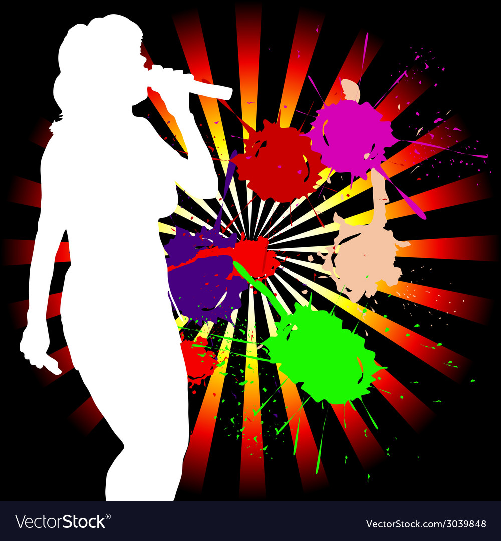 Singing girl white silhouette vector   Price: 1 Credit (USD $1)