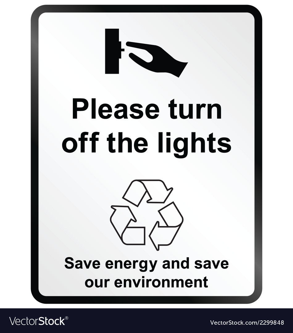 Turn off lights information sign vector | Price: 1 Credit (USD $1)