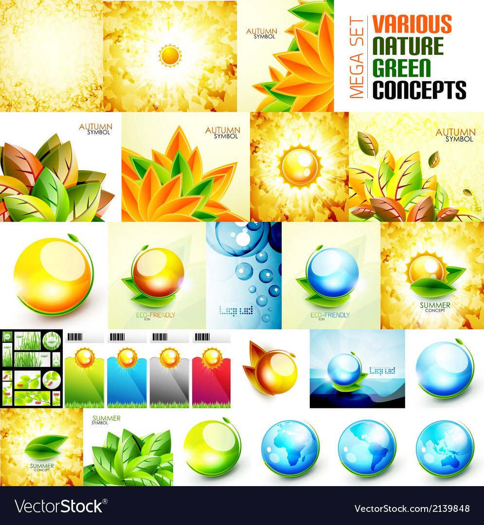 Various nature autumn and summer concepts vector | Price: 1 Credit (USD $1)