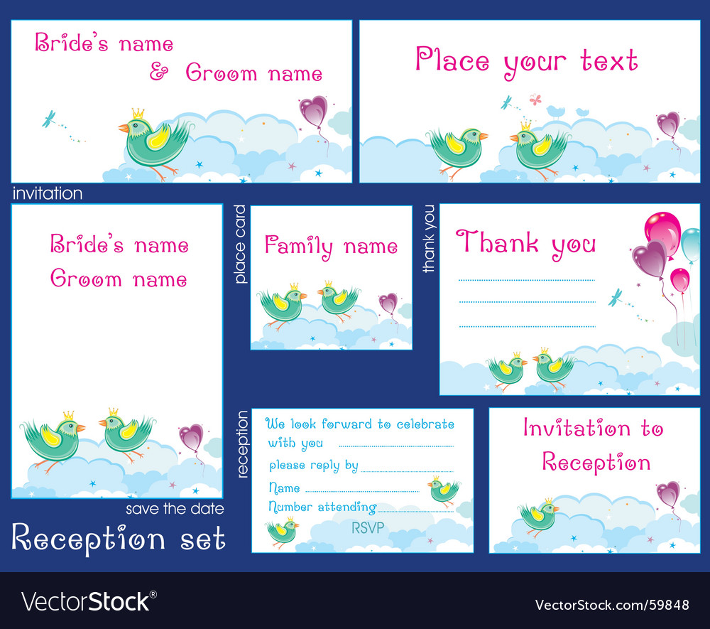 Wedding reception card set vector | Price: 3 Credit (USD $3)