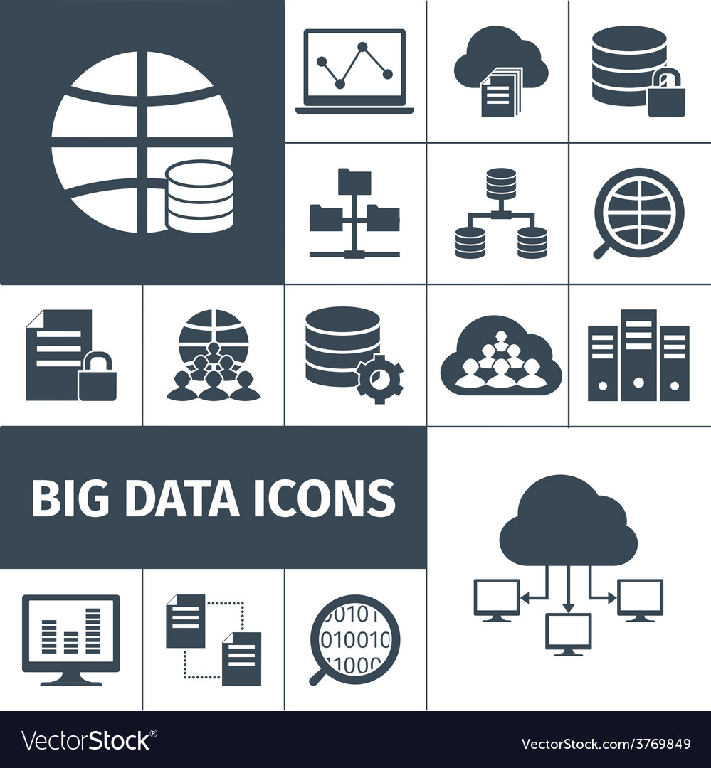 Big data icons black vector | Price: 1 Credit (USD $1)