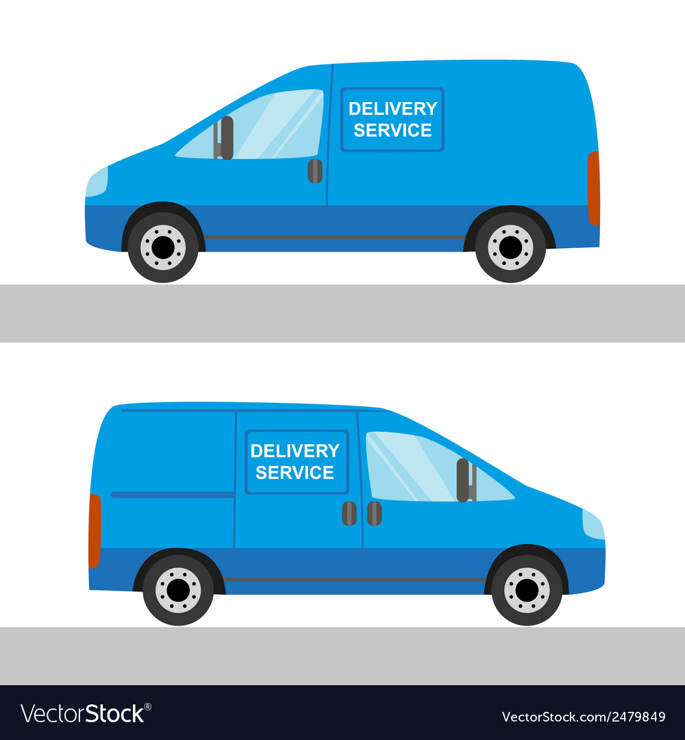 Blue delivery van isolated view from two sides vector | Price: 1 Credit (USD $1)