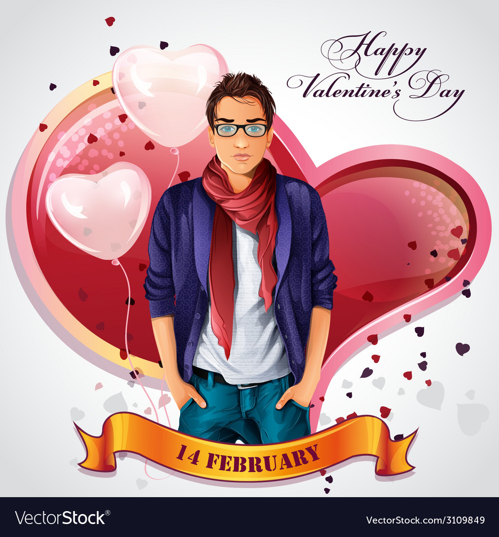 Card for valentines day with hearts and balloons vector | Price: 3 Credit (USD $3)