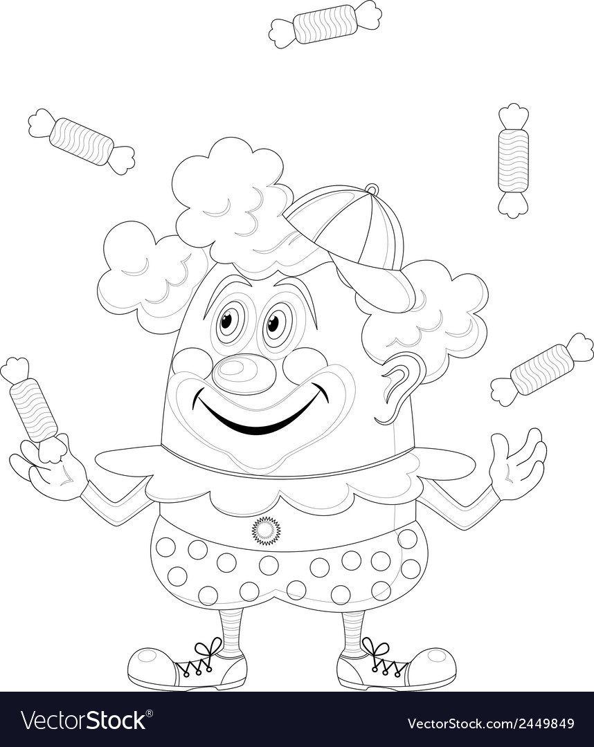Circus clown juggling candies contour vector | Price: 1 Credit (USD $1)