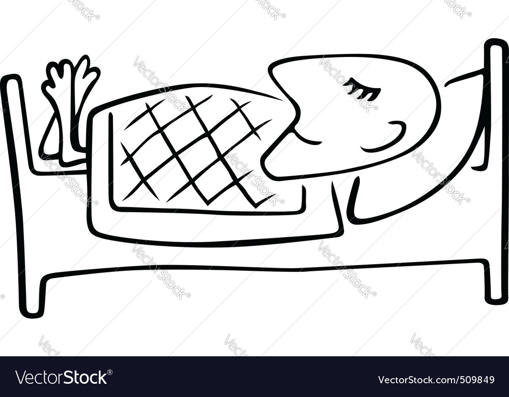 Man sleeping in the bed vector | Price: 1 Credit (USD $1)