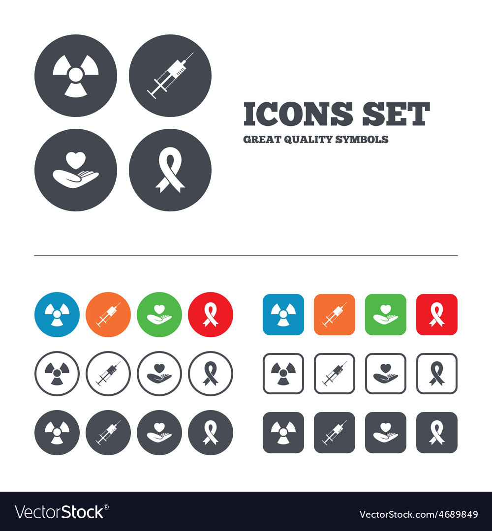 Medicine icons syringe life radiation vector | Price: 1 Credit (USD $1)