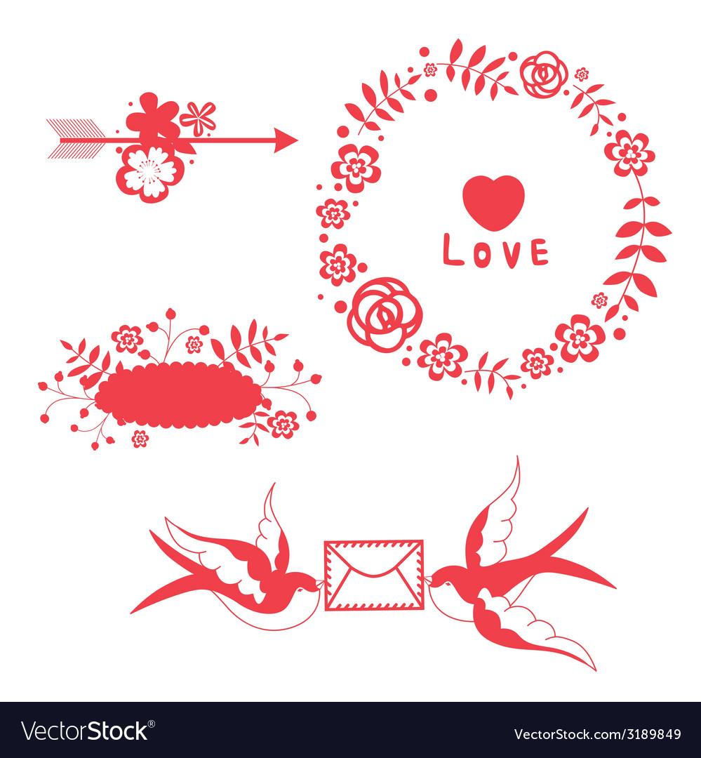 Romantic floral elements and swallows vector | Price: 1 Credit (USD $1)
