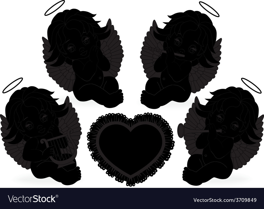 Set of small angels vector | Price: 1 Credit (USD $1)