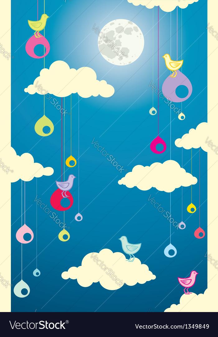 Sky bird moon vector | Price: 1 Credit (USD $1)