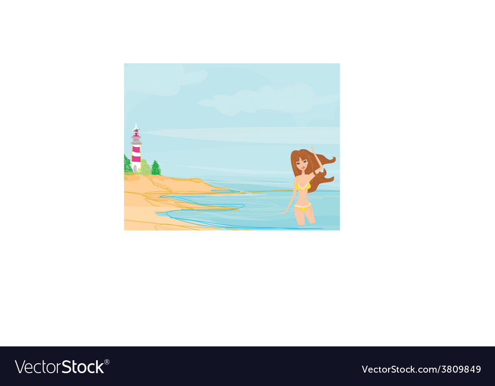 Summer beach girl vector | Price: 1 Credit (USD $1)