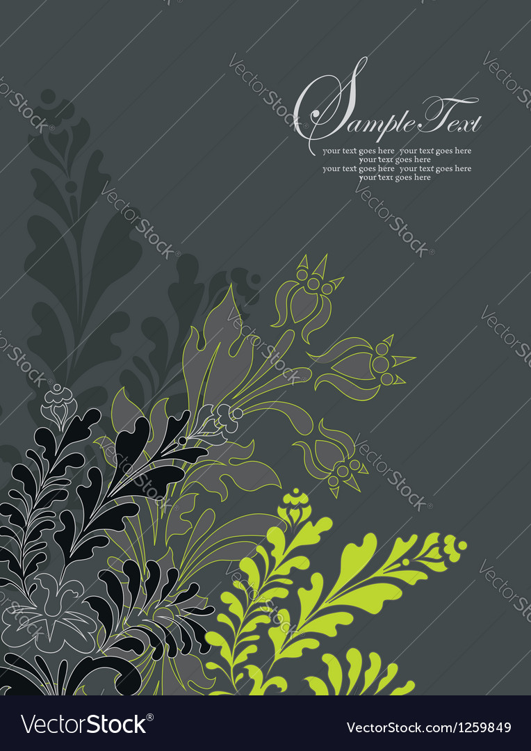 Vintage style invitation card with flower vector | Price: 1 Credit (USD $1)