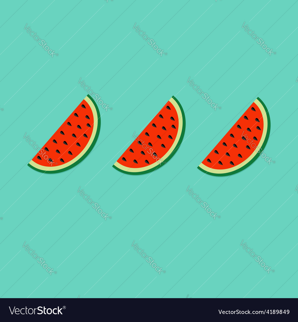 Watermelon slice cut with seed in a row set flat vector | Price: 1 Credit (USD $1)