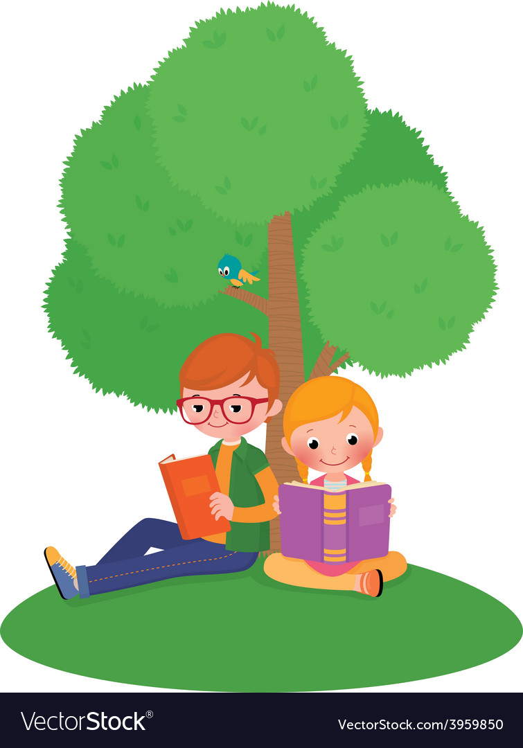 Children outdoors reading a book vector | Price: 1 Credit (USD $1)