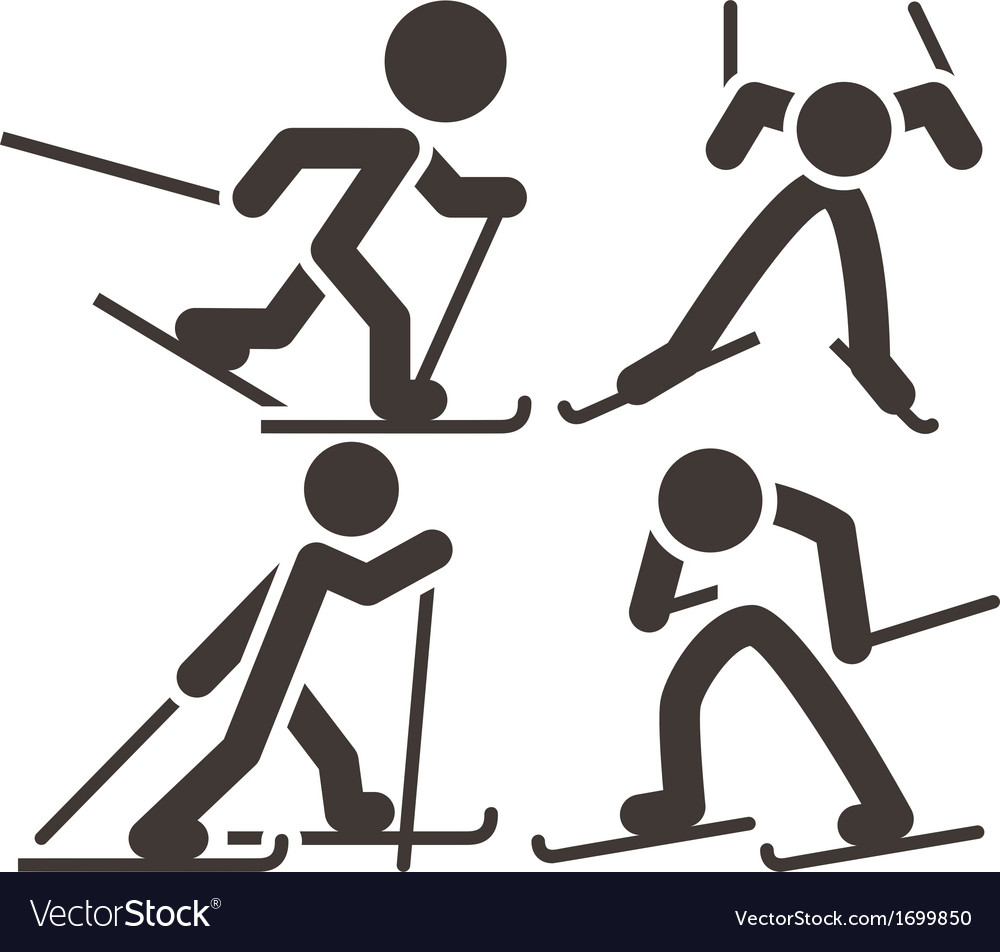 Cross country skiing icons vector | Price: 1 Credit (USD $1)