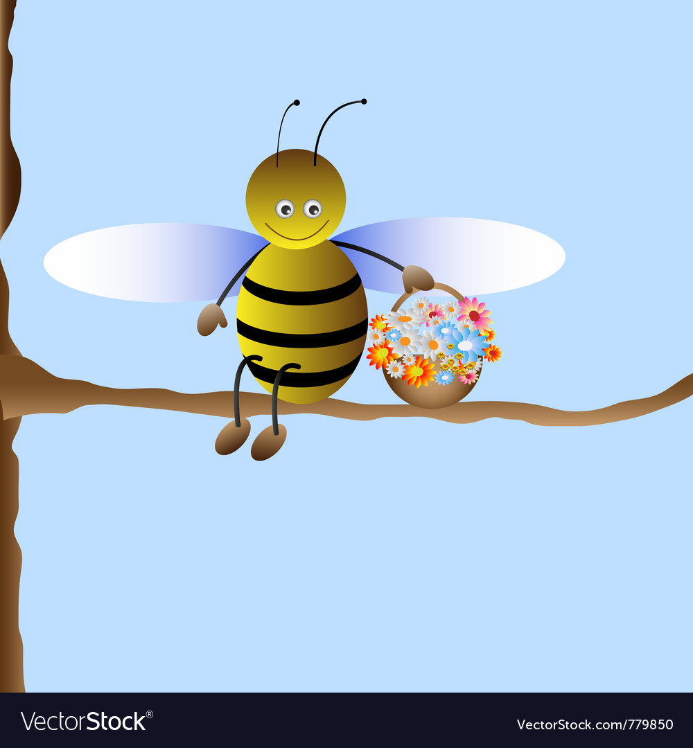 Cute cartoon bee vector | Price: 1 Credit (USD $1)
