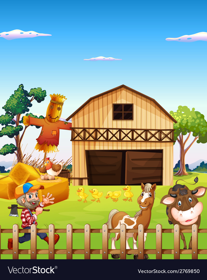 Farmhouse vector | Price: 1 Credit (USD $1)