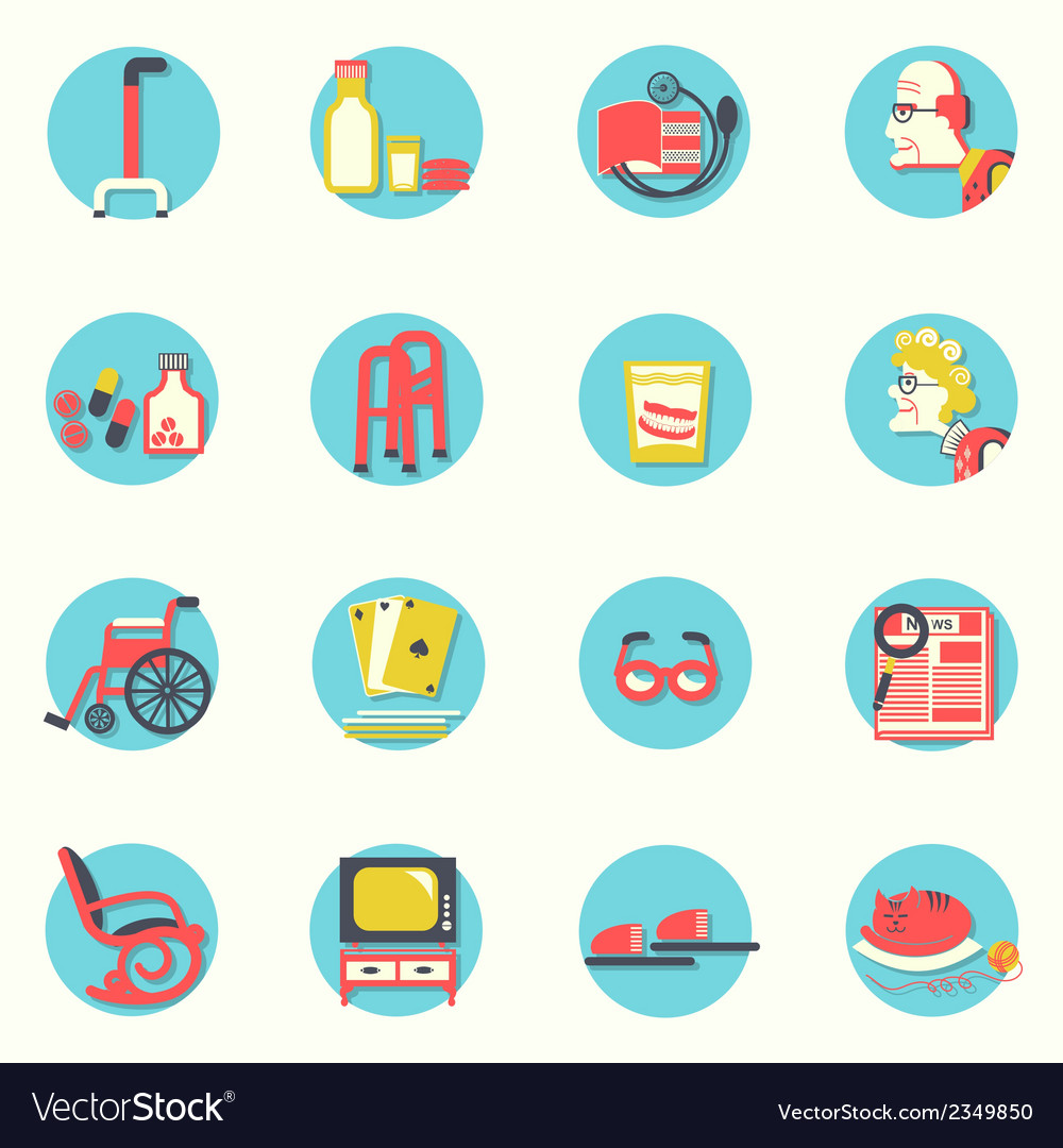 Flat iconselderly people and objects for life vector