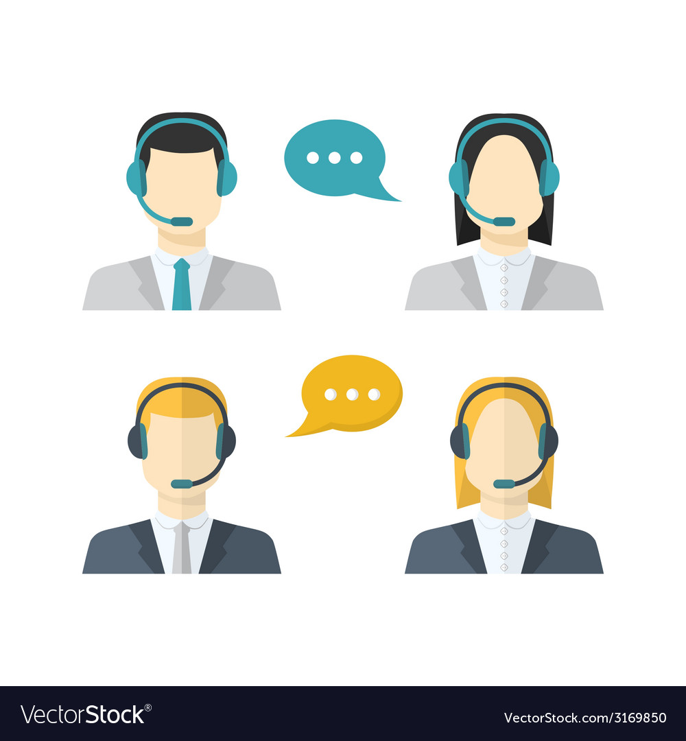 Icons set male and female call center avatars in a vector | Price: 1 Credit (USD $1)