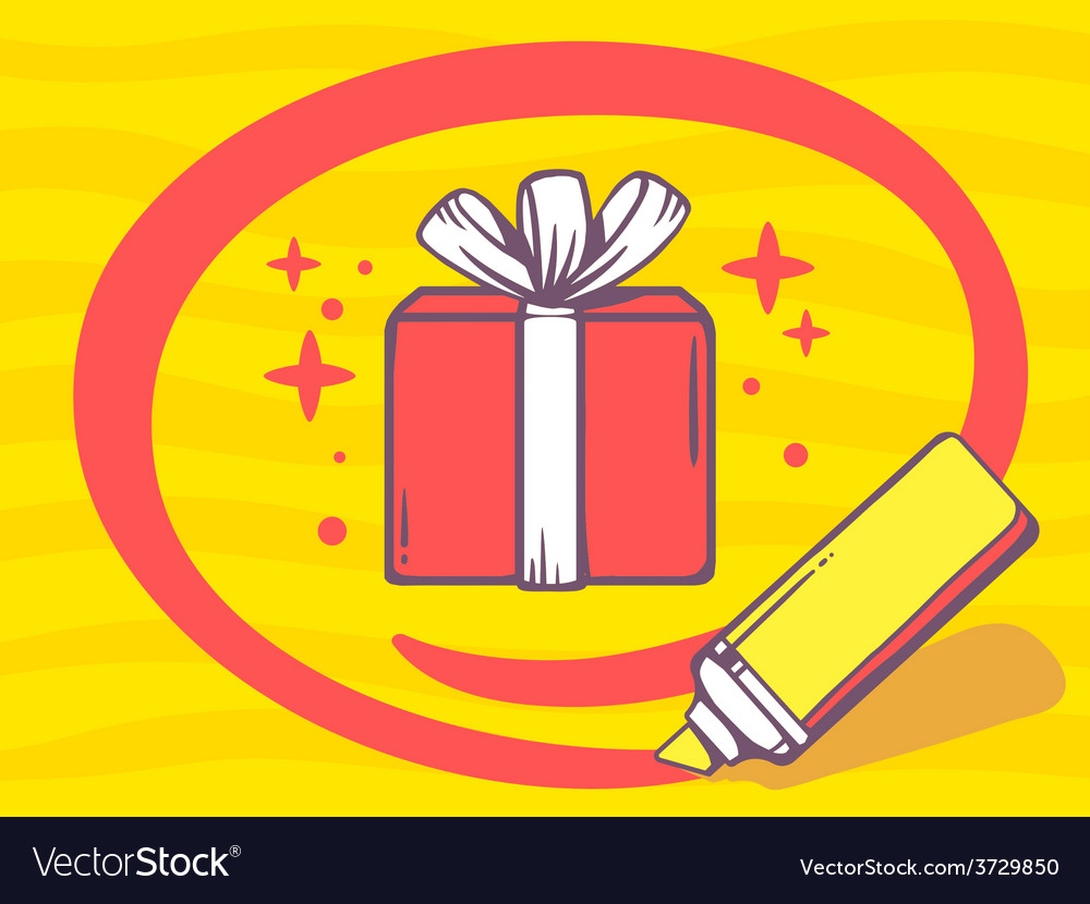 Marker drawing circle around gift box on vector | Price: 1 Credit (USD $1)